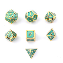 2019 Super Universe Galaxy DND Dice Set D4-D20 for Dungeons and Dragons RPG Green Metal Best Gifts Tafel Games Transparan