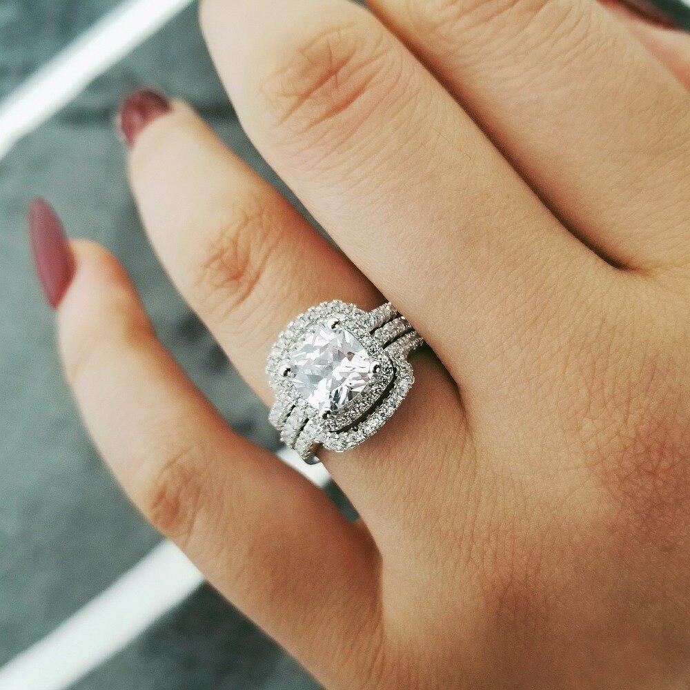 2019 yeni dizayn Lüks 3 ədəd 925 sterlinq gümüş üzük - Moda zərgərlik - Fotoqrafiya 3