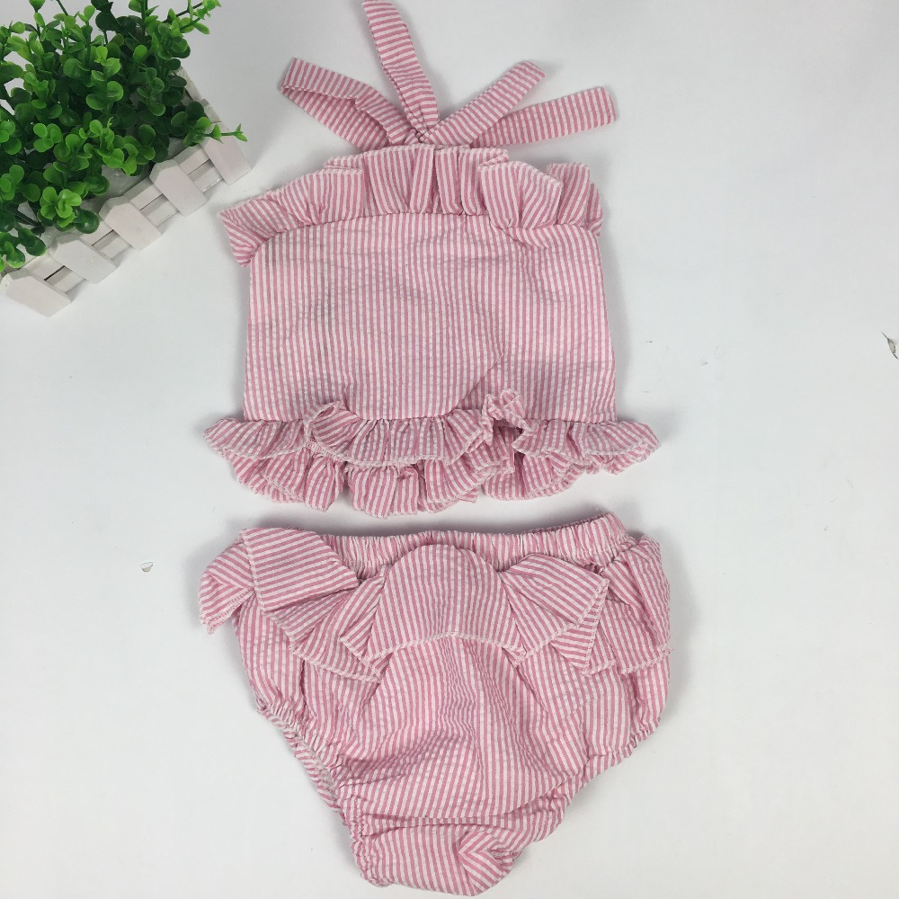 Puresun Baby Girl Boutique Kids Pink White Plaid Bubble Belt Clothing Summer Clothes Set  Seersucker Swimsuits ClothesPuresun Baby Girl Boutique Kids Pink White Plaid Bubble Belt Clothing Summer Clothes Set  Seersucker Swimsuits Clothes