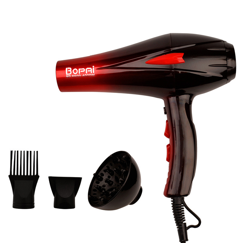 Professional Hair Dryer 4000W Hair Dryer Fast Styling Blow Dryer Hot And Cold Adjustment With Two Nozzles secador de pelo 51 professional hair dryer 2200w 220v ion hair care styling tools secador de cabelo fashion hot cold nano titanium hairdryer