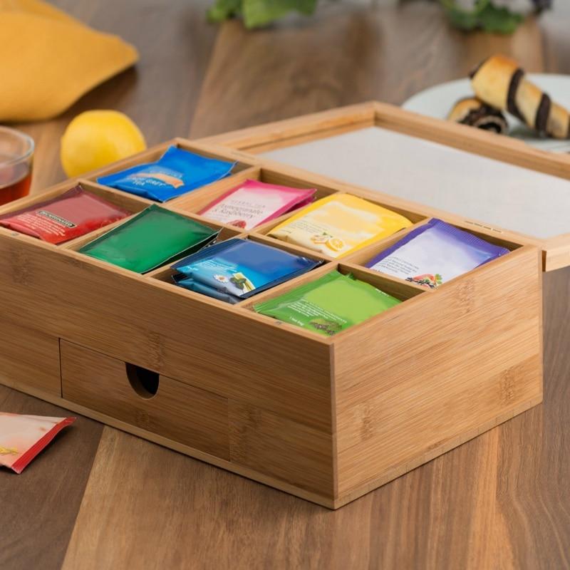 Boite à thé bois sachet thé café bambou boite bijoux organisateur boite de rangement bambou boite pour la maison thé maison Organization