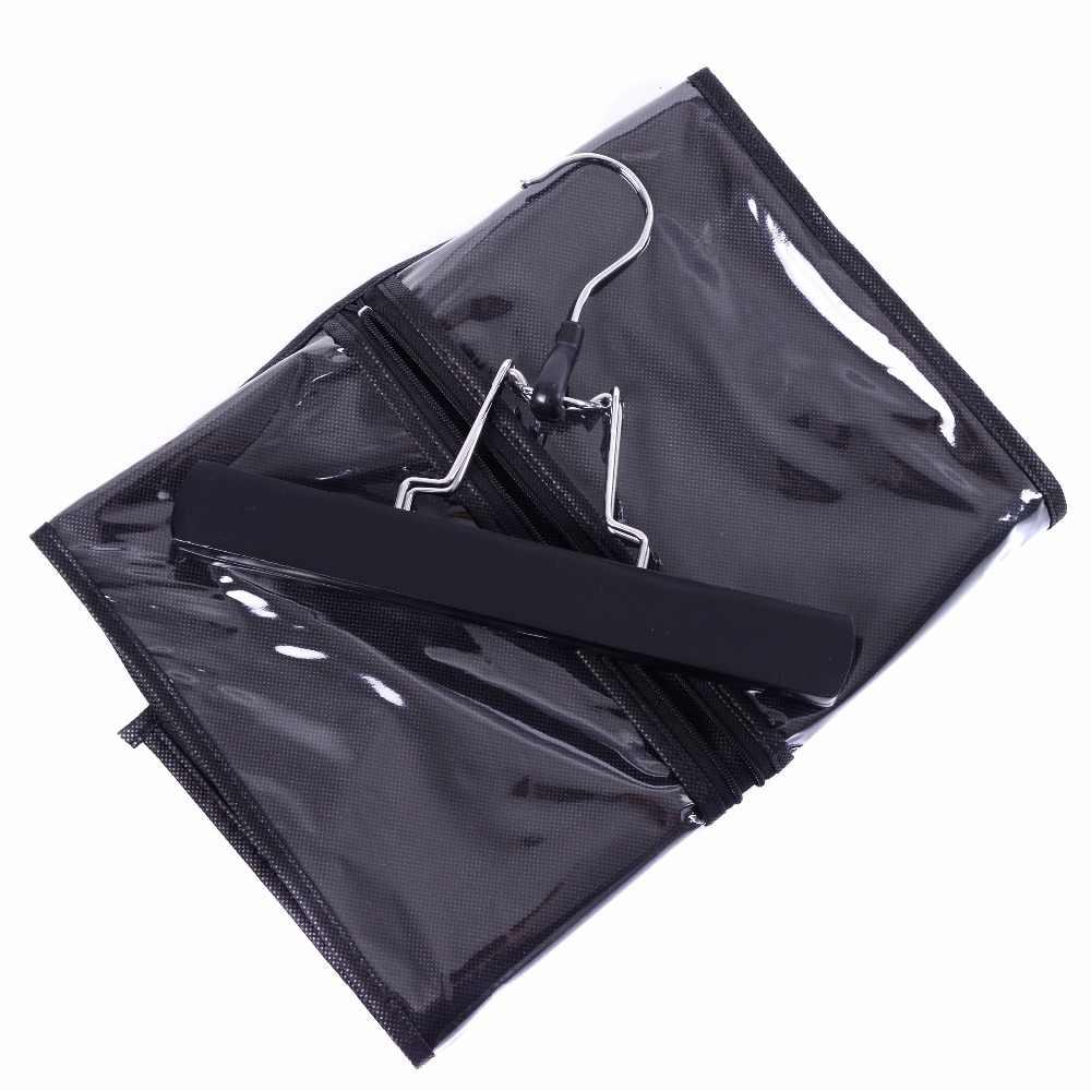 Extensiones de Cabello portador almacenamiento traje no tejido bolsa paquete con percha de madera para trama y Clip de cabello virgen en la extensión del pelo