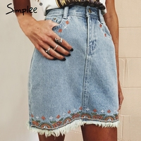Simplee Casual Fringe Flower Embroidery Pencil Skirt Chic Slim High Waist Denim Skirt Summer Women Mini