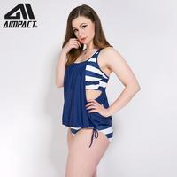Aimpact Plus Size Sexy Swimsuits for Women Fashion 2 Pieces Lady Bathing Suit Holiday Surf Padded Swimwears Tankini Sets AM9039