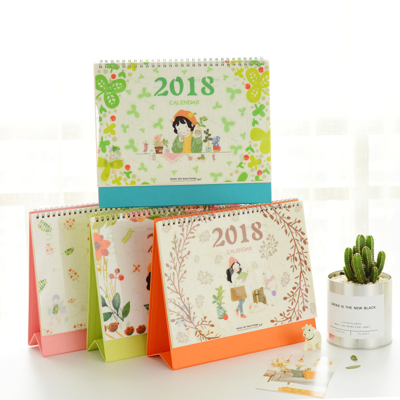 Creative Fruit Desk Calendar 2018 Cute Kawaii Flower Perpetual Calendar Office School Supplies Free shipping 3106 140 page note paper creative fruit design