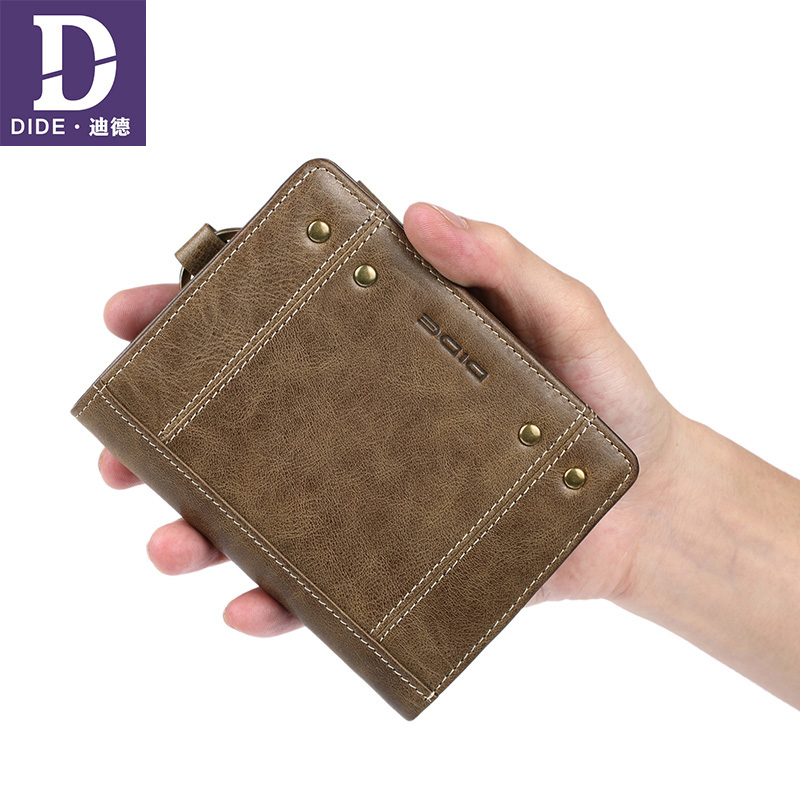 DIDE Genuine100% Genuine Leather Wallet men Wallets Vintage High Quality Cow Leather Male Wallet Purse Purses zipper Coin DQ628 genuine cow leather vintage men wallet fashion zipper