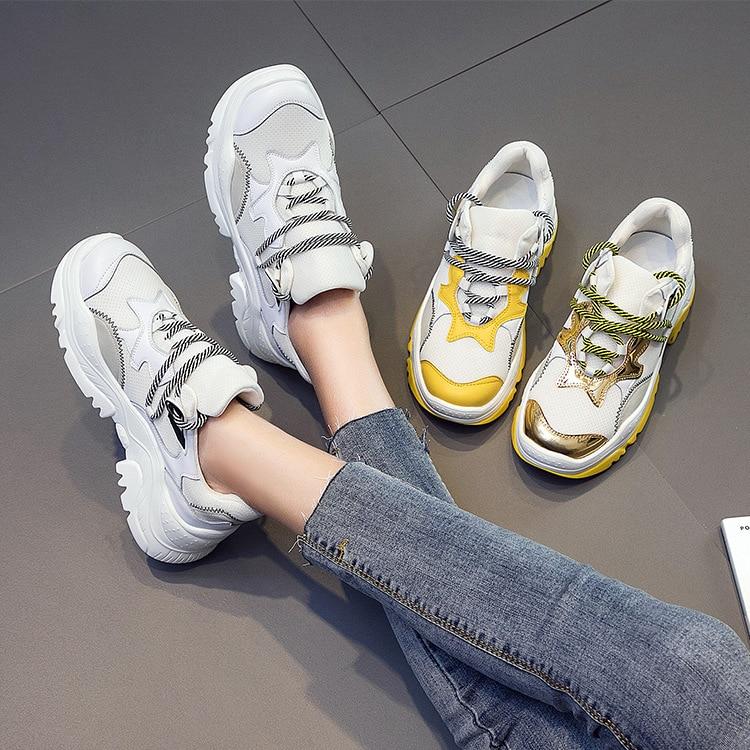 03 Feminino Femmes Chaussures Marche Femme En Blanc De Sneakers Étudiants Nouveau Et Cuir Tenis 01 Zapatos Mesh Véritable Flamme 2018 Casual 02 UrxgUcw1qp