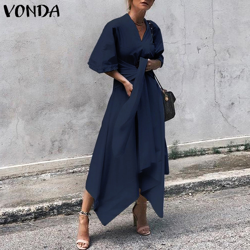 VONDA 2020 Summer Dress Women Long Maxi Dress Short Sleeve Sexy V Neck Vintage Asymmetrical High Waist Party Vestidos Plus Size