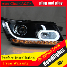 Auto Clud Car Styling for Fiat Freemont LED Headlight JCUV Headlights LED DRL Lens Double Beam