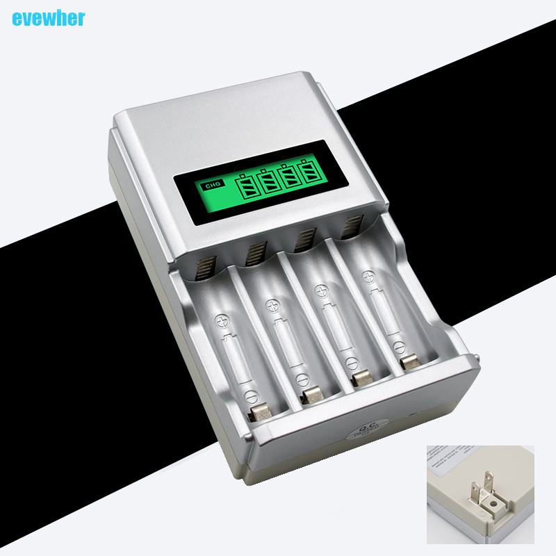 Evewher 1.2V 4 slots AA AAA NIMH nicd quick charge battery charger with LCD display with EU US plug smart charger