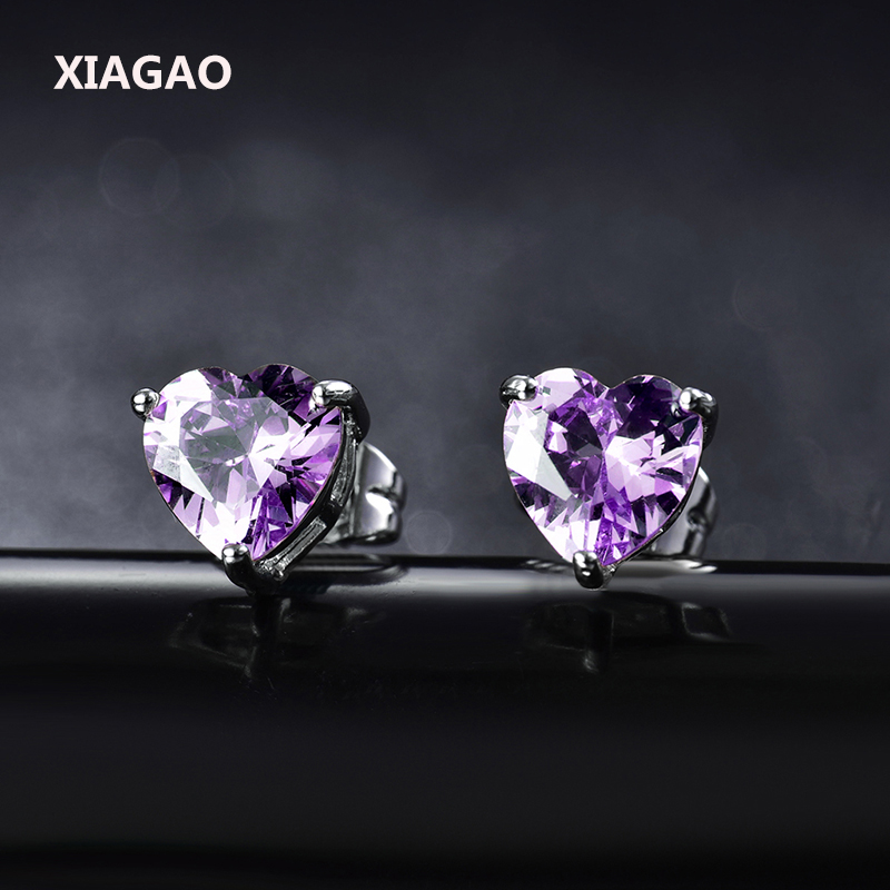 XIAGAO Pink Ruby Black Cute Heart Earing Women 18K White Gold Plated Crystal AAA Top Clear CZ Cubic Zirconia Stud Earrings