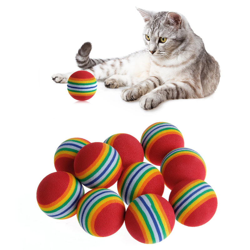 10Pcs Colorful font b Pet b font Rainbow Foam Fetch Balls Training Interactive Dog Funny Toy