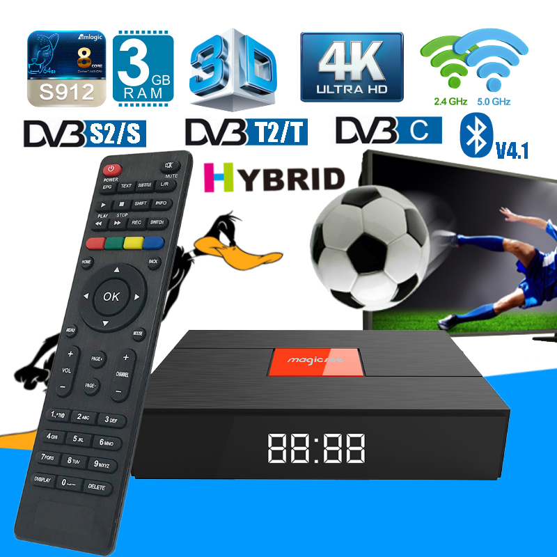 Magicsee C400 Plus 4K HD DVB S2 T2 C Combo Satellite TV Receiver 3G+32G Android 7.1 Octa core Dual Wifi Hybrid Smart Set Top Box