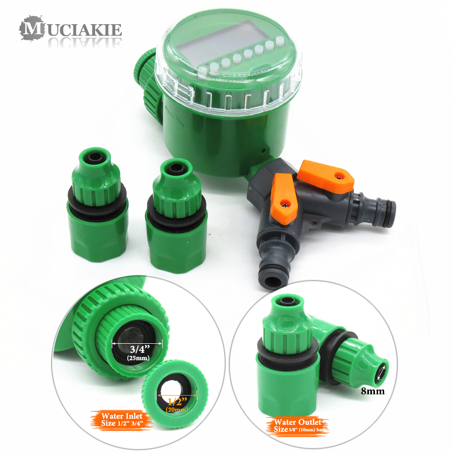 MUCIAKIE Garden Water Timer with 1/2/4-Way Hose Splitter Automatic Watering Irrigation Controller Adapter 4/7 8/11 16mm Hose 5