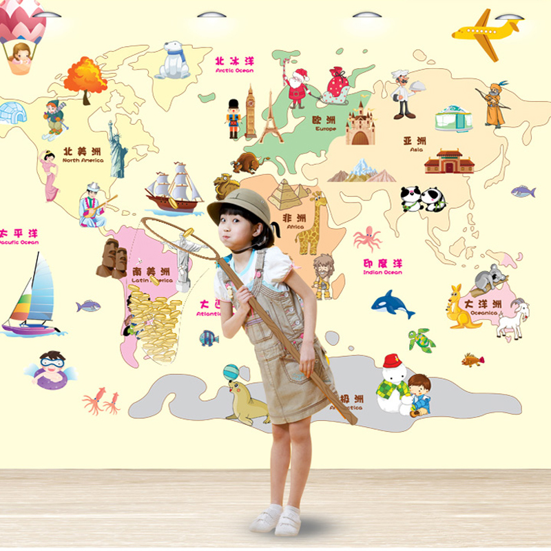 Huge world map wall bedroom of children room one interesting huge world map wall bedroom of children room one interesting educationallearning wallpaper cartoon stickers in wall stickers from home garden on gumiabroncs Images