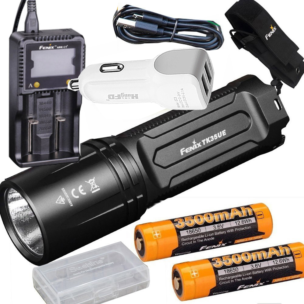 FENIX TK35 UE 2018 3200 Lumen LED USB rechargeable Tactical Flashlight +3500mAh battery,ARE-C1+ charger,holster,car charger fenix hp25r 1000 lumen headlamp rechargeable led flashlight