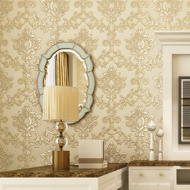 Luxury European Style Damask Wall Paper Rolls 3D Embossed Textured ...