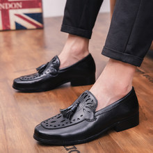 2019 Four Seasons Pointed Men Formal Business Brogue Shoes Luxury Men's Dress Shoes Male Casual Leather Wedding Party Loafers(China)