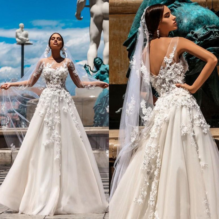 Vestidos 3D Floral Appliques A Line Tulle Dress For