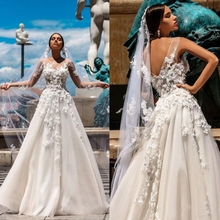 Vestidos 3D Floral Appliques A Line Tulle Dress for Wedding Party Sheer Neck Beach Gowns Sexy Back Boho Bridal