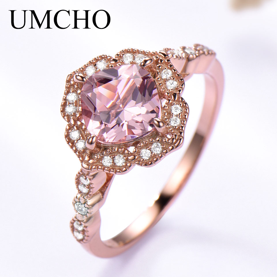 UMCHO Silver 925 Nano Morganite Rings For Women Engagement Party Rose Gold Color Ring New Fashion Promise Rings Fine Jewelry