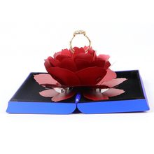 New Creative Wedding Ring Box 3D Pop Up Rose Ring Box Wedding Engagement Jewelry Storage Holder Case Jewelry Boxes 2.14(China)