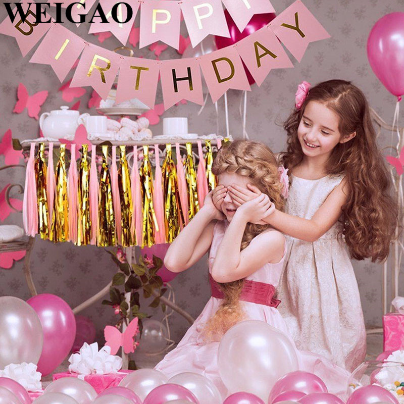 WEIGAO Kids Happy Birthday Party Tissue Tassels Garland DIY Birthday Wedding Party Backdrop Banner Baby Shower Table Decoration