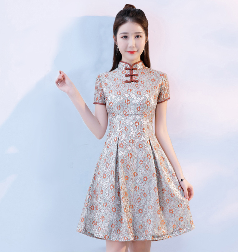 Mode Mini Cheongsam style chinois robe col Mandarin 2018 femmes été dentelle Qipao Slim robes de soirée Vestido S-3XL