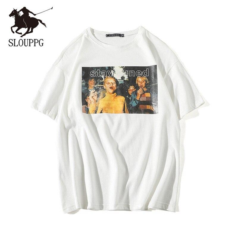 SLOUPPG Retro Print O- Neck Short Sleeve T-shirt European American Men's Cotton Summer Loose Casual Semi-sleeve Mens T Shirt