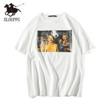 SLOUPPG Retro Print O- Neck Short Sleeve T-shirt European Am