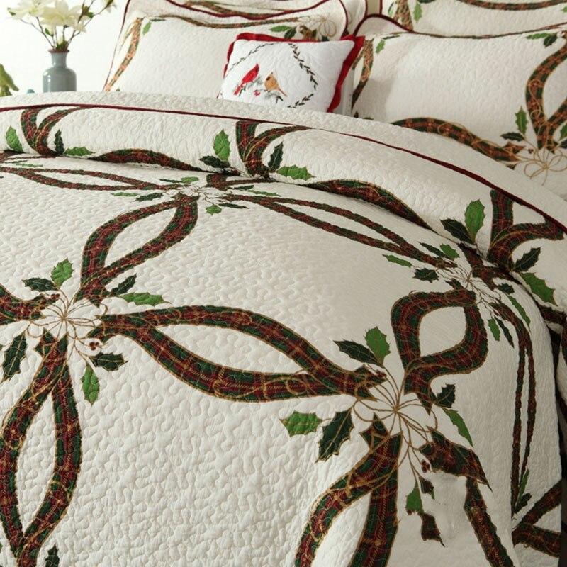 CHAUSUB Neue Weihnachten Bänder Quilt Set 3 STÜCKE Gewaschener Baumwolle Quilts gesteppte Bettdecke Bettdecke Kissenbezug König Größe Bettdecke Satz - 2