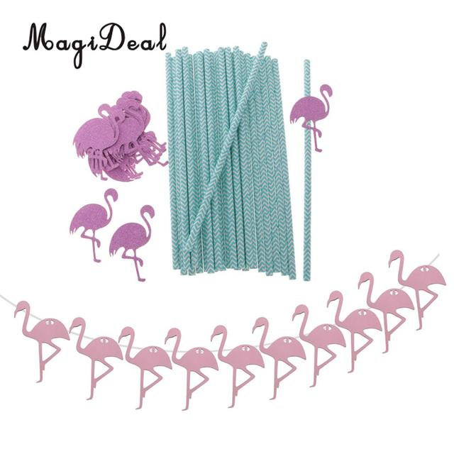 25 Pieces Summer Tropical Flamingo Drinking Straws Wooden Wedding Hanging Bunting Banner Nursery Home Decor