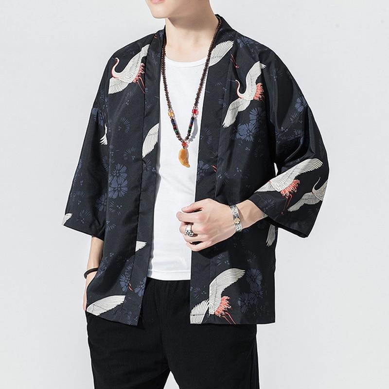 Crane Robe Japanese Style Kimono Yukata 3XL Man Loose Sunscreen Cardigan 4XL Chinese Element Han Fu Kimono Haori 5XL