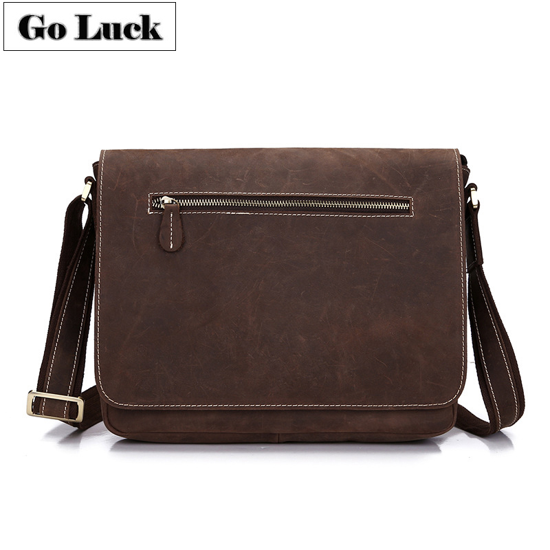 GO LUCK Crazy Horse Genuine Leather Hand Made Casual Messenger Bags Men s Cowhide Crossbody Shoulder