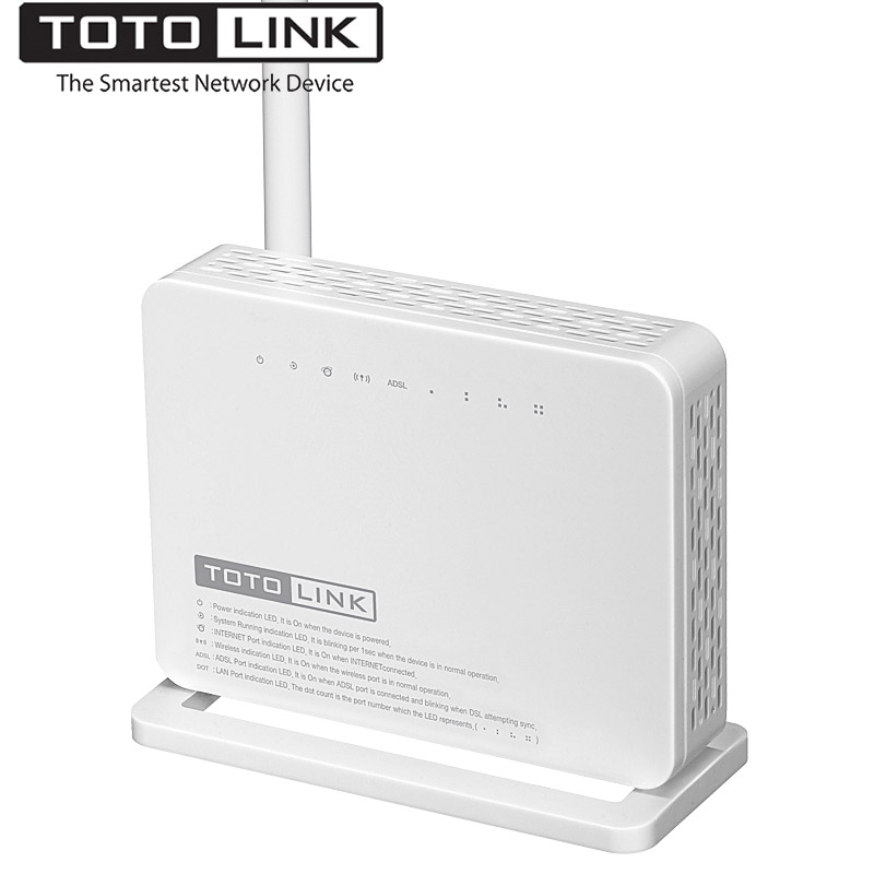 TOTOLINK ND150 150Mbps Wireless ADSL 2/2+ Wireless Wifi Modem Router, Wi-Fi Repeater with 4-port switch in One, Support ADSL/WAN