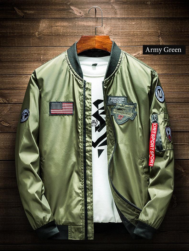Army Green Bomber Jacket Men Fashion American Flag Patch Designs Pilot  Jacket Ribbons Zipper Pocket Baseball Uniform Male Coat