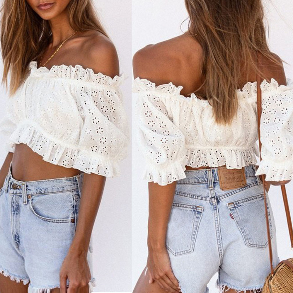 2019 <font><b>Sexy</b></font> <font><b>Women's</b></font> <font><b>Fashion</b></font> <font><b>Sexy</b></font> <font><b>Short</b></font> Solid Lace Hollow out <font><b>Off</b></font> <font><b>Shoulder</b></font> <font><b>Short</b></font> <font><b>Sleeve</b></font> Tops Shirt Party Gift Spring Summer image