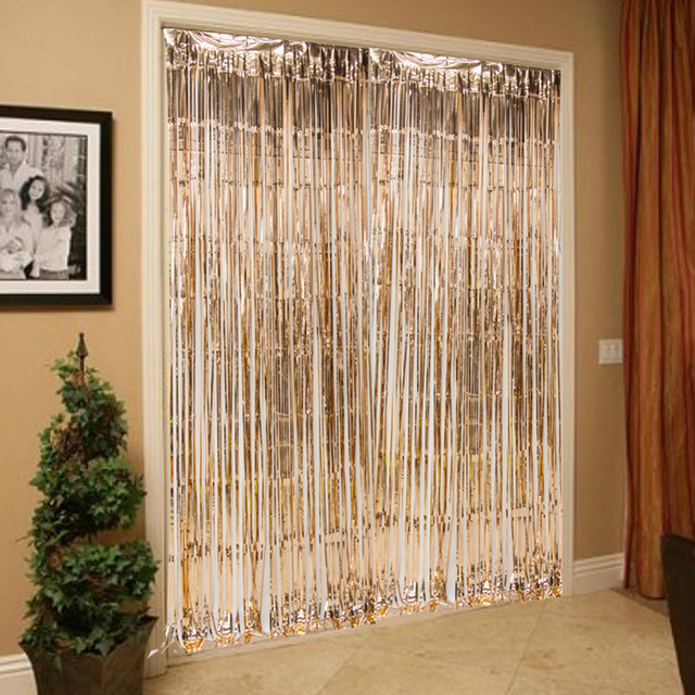 3ft x 8ft Rose Gold Shimmering Fringe Tinsel Door Curtains Metallic Foil Party Photo Backdrop Wedding Birthday Pub Stage Party