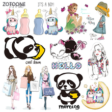 ZOTOONE Stripes Patches Set Iron on Transfer Panda Dog for T-shirts Girl Kid Clothing DIY Thermo Stickers Clothes G