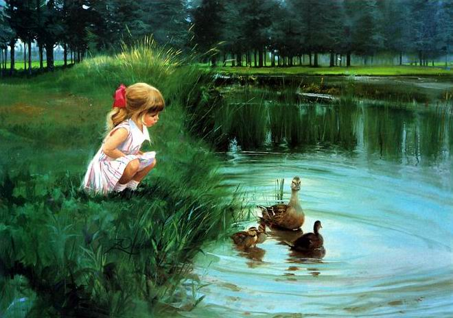 Couture, broderie, bricolage DMC la fille qui aime regarder les canards par les kits de point de croix de rivière, décor de point de croix de motif d'art