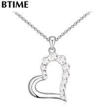 Btime New Arrival Trendy 5Color Rhinestone Necklace Heart Pendant Necklaces & Pendant Women Fashion Jewelry girl