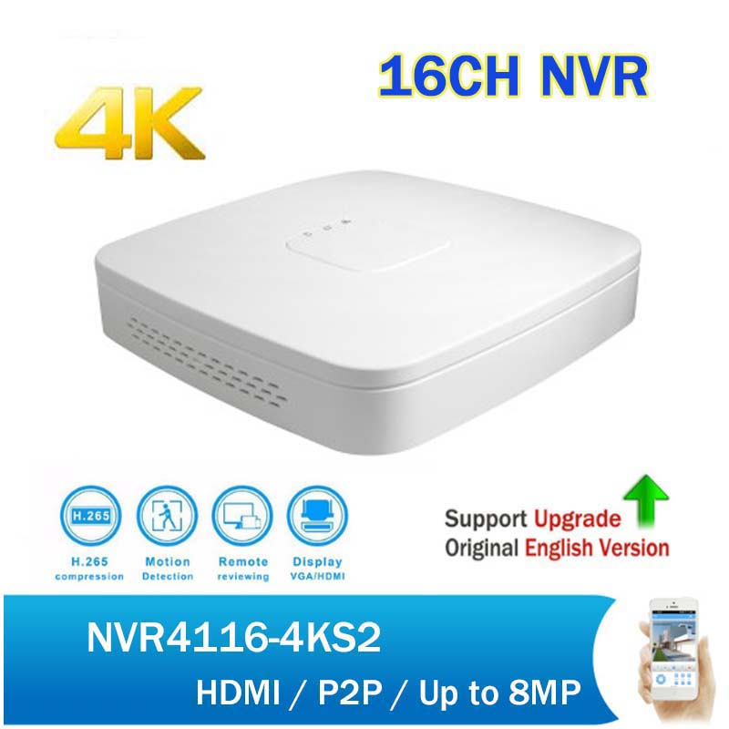 Original English  NVR NVR4116-4KS2 Up to 8MP Resolution 16Channel Smart 1U 4K&H265 Lite Network Video Recorder Without Logo