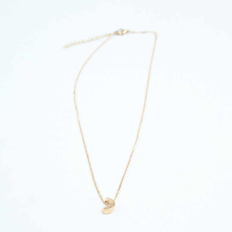 Minimalista curva media luna collar de cadena larga de color dorado joyería de mujer al por mayor collar de cadena sencilla y colgante x226