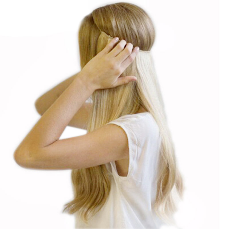 20 inches בלתי נראה חוט אין קליפים שיער הרחבות נוכריות Ombre Halo בצבע עבור שיער ישר גלי טבעי סינטטי