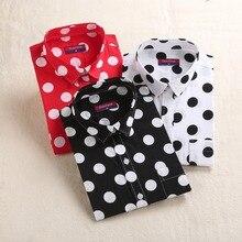 Dioufond красный горошек Женские рубашки Формальные работы дамы блузки хлопок с длинным рукавом Винтаж рубашка размера плюс Топы модная одежда