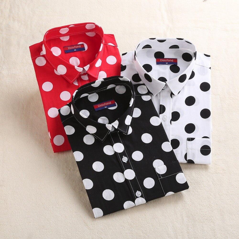 Dioufond vermelho polka dot camisas femininas trabalho formal senhoras blusas de algodão manga longa camisa do vintage plus size topos roupas moda