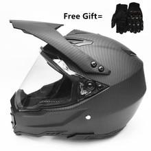 In fibra di carbonio grano Uomini ATV MTB DH Downhill Dirt bike Off-road Caschi Da Corsa Del fronte Pieno del Motociclo del Casco Lente visiera