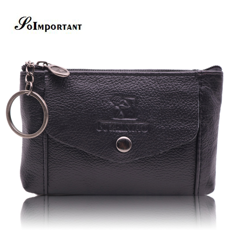 Vintage Genuine Leather Mini Men Wallets Male Zipper Magic Coin Purse Vallet Mens Credit ID Bank Card Holder Walet With Key Ring