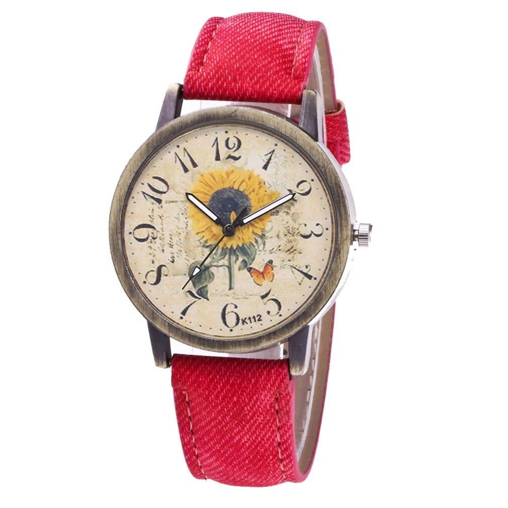 Watches Outad Worldwide Women Men Watch Aircraft Pattern Denim Fabric Band Watches Dial Quartz Wrist Relogio Feminino Masculino Gift