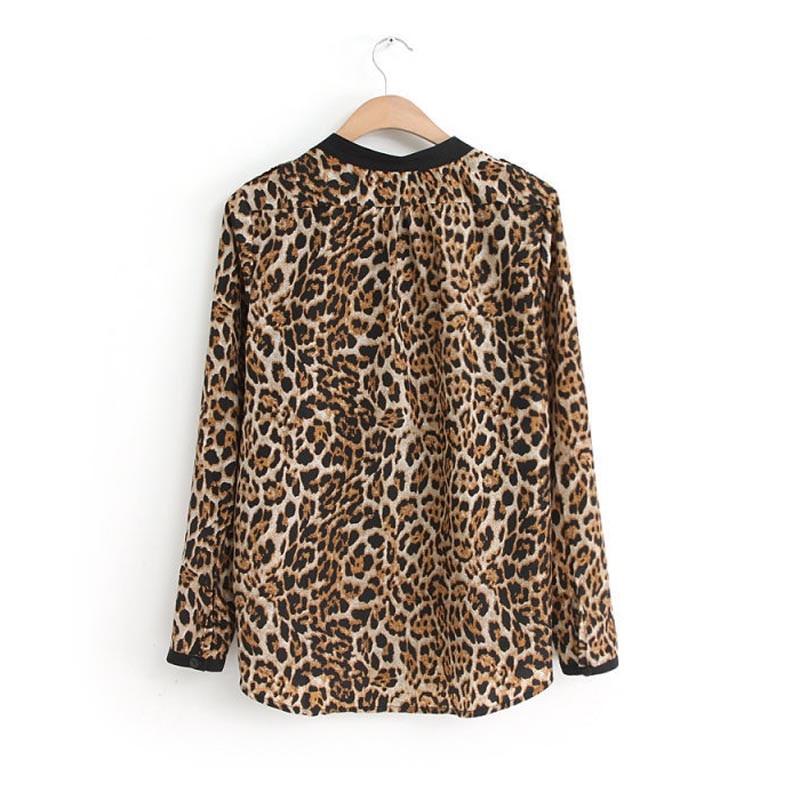 2017 hot sale hills fashion New Women Leopard Print Long Sleeve Chiffon   Shirt   Slim Casual   Blouses